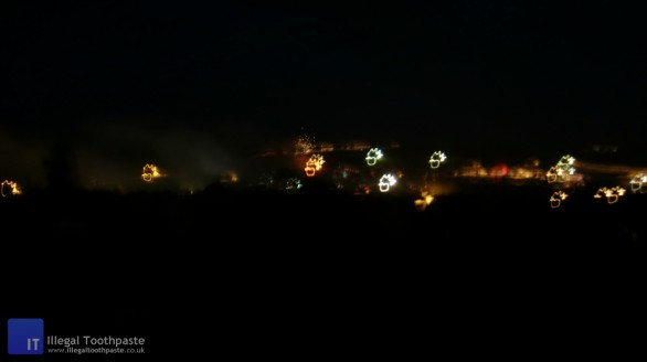 Lights over Glastonbury Festival