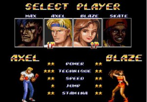 Streets of Rage 2 Character Selection Screen Screenshot