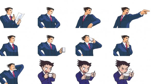Phoenix Wright Sprites Collage