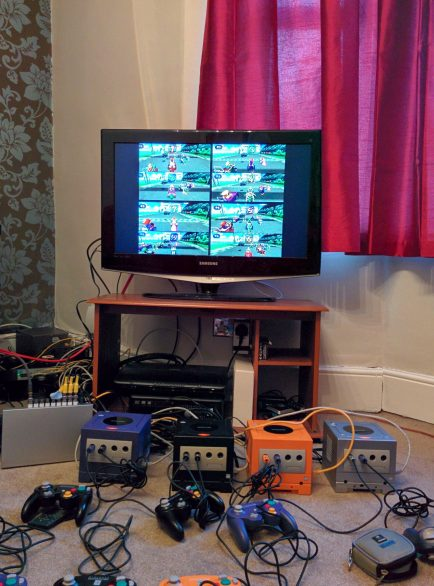 My first iteration had 4 GameCubes using Split Screen to achieve the 8 Player setup.