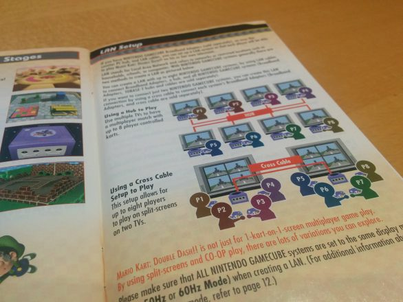 Mario Kart: Double Dash manual showing the LAN setup page